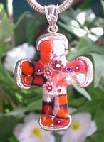 Red, Black, and White Millefiori Sterling Silver Cross Pendant - Silver Insanity