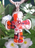 Red, Black, and White Millefiori Sterling Silver Cross Pendant