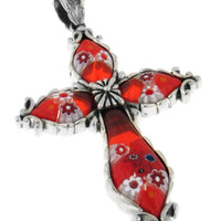 Sterling Silver Red Leaf Millefiori Glass Cross Pendant - Silver Insanity
