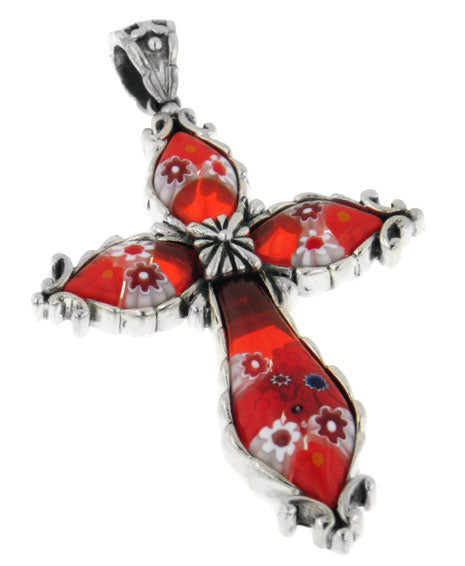 Sterling Silver Red Leaf Millefiori Glass Cross Pendant