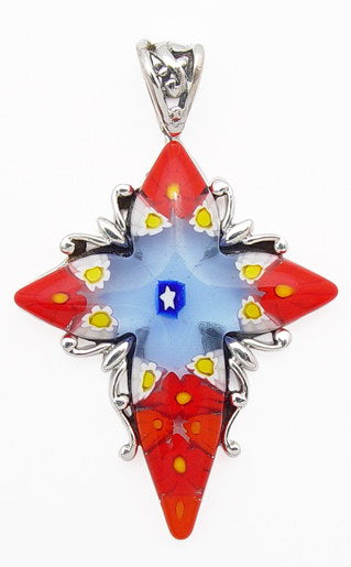 Sterling Silver Red, White, Blue Millefiori Glass Star Cross Pendant - Silver Insanity