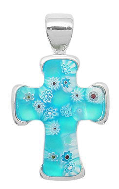 Sterling Silver Teal Blue Millefiori Murano Glass Cross Pendant - Silver Insanity