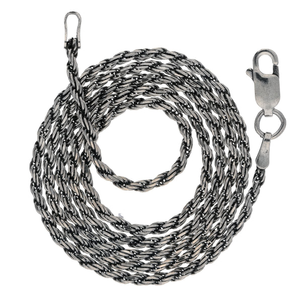 2mm Sterling Silver Antiqued Diamond-Cut Rope Chain Necklace - Silver Insanity