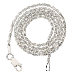2mm Sterling Silver  Diamond-Cut Rope Chain Necklace - Silver Insanity