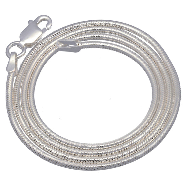Italian 2mm Sterling Silver Snake Chain Necklace - Silver Insanity