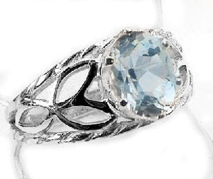 Genuine Blue Topaz Oval and Open Leaves Sterling Silver Ring - Silver Insanity