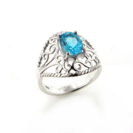 Open Lace Filigree Dome and Genuine Blue Topaz Sterling Silver Ring