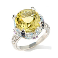 Round Lemon Quartz, Blue Sapphire, and Topaz Sterling Silver Ring - Silver Insanity
