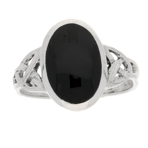 Sterling Silver Simulated Black Onyx Celtic Knot Ring - Silver Insanity