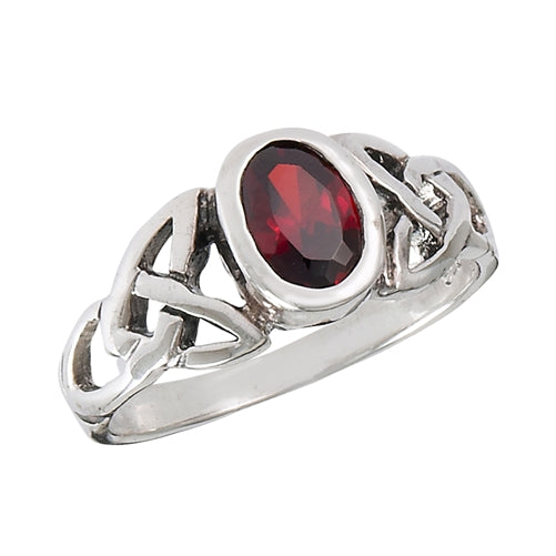 Sterling Silver Celtic Knot Simulated Red Garnet Ring
