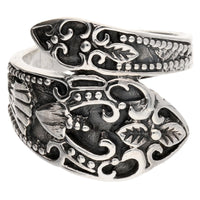 Sterling Silver Antiqued Style Ornate Spoon Ring - Silver Insanity
