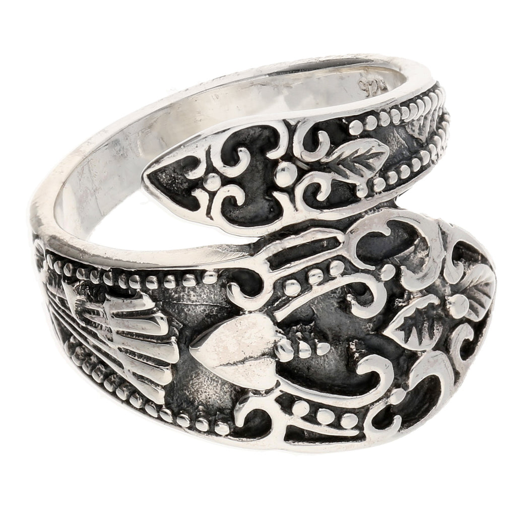 4d254d9581967 ... Sterling Silver Antiqued Style Ornate Spoon Ring