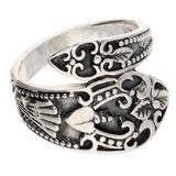 Sterling Silver Antiqued Style Ornate Spoon Ring
