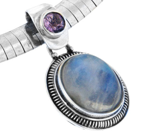 Amethyst and Rainbow Moonstone Sterling Silver Slide Pendant - Silver Insanity