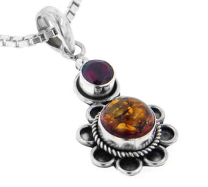 Genuine Amber and Garnet Sterling Silver Flower Pendant - Silver Insanity