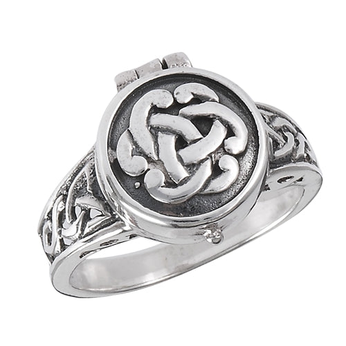 Sterling Silver Celtic Knot Poison Locket Ring - Silver Insanity