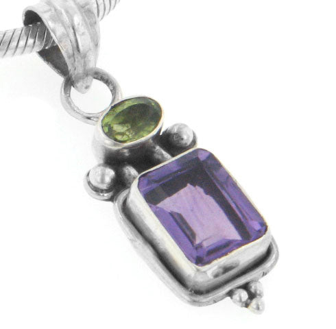 Sterling Silver Emerald-Cut Amethyst and Green Peridot Pendant - Silver Insanity