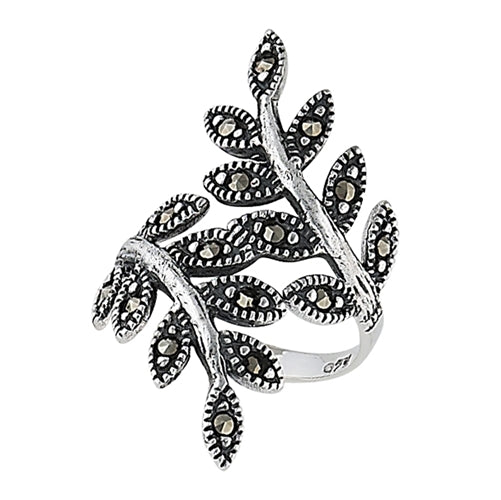 Sterling Silver Ivy Leaf Vine Branch Marcasite Ring