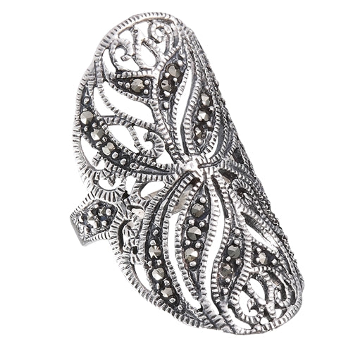 Sterling Silver Large Wide Floral Marcasite Ring