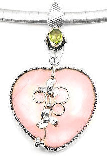 Sterling Silver Peridot and Rose Quartz Heart Pendant