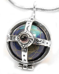 Sterling Silver Multi-Stone Caged Earth Globe Pendant - Silver Insanity