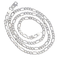Diamond-Cut 3mm Wide Sterling Silver Figaro Chain Necklace Italian - Silver Insanity