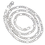 Diamond-Cut 6mm Wide Sterling Silver Figaro Chain Necklace Italian - Silver Insanity