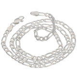 Diamond-Cut 4mm Wide Sterling Silver Figaro Chain Necklace Italian - Silver Insanity