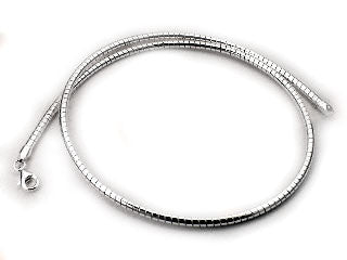"Sterling Silver 2mm Round Omega 20"" Chain Necklace"