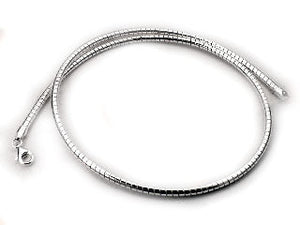 Sterling Silver 1.2mm Round Omega Chain Wire Necklace - Silver Insanity