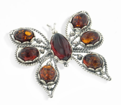 Large Sterling Silver Butterfly Pin Brooch with Genuine Baltic Amber