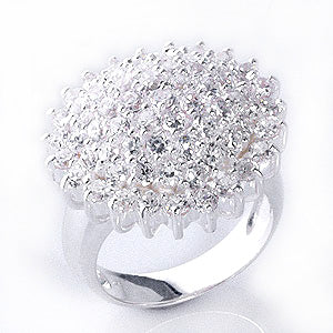Sparkling Flower Cluster 6cttw White CZ Sterling Silver Cocktail Ring