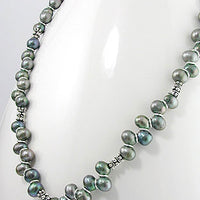 "Black Peacock Genuine Cultured Freshwater Pearl and Sterling Silver 20"" Necklace - Silver Insanity"