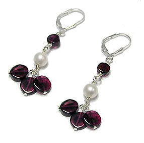 Genuine Garnet and Shell Gemstone Beaded Sterling Silver Leverback Earrings - Silver Insanity