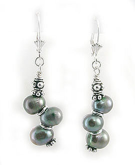 Cultured Freshwater Peacock Pearl Beaded Sterling Silver Leverback Earrings