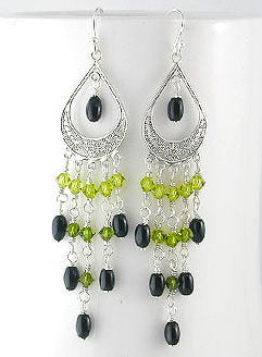 Sterling Silver Earrings with Black Onyx Green Crystal