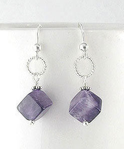 Cubed Amethyst Gemstone Bead Drops Sterling Silver Hook Earrings - Silver Insanity