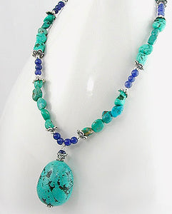 "Genuine Turquoise and Blue Lapis Gemstone Sterling Silver 18"" Necklace - Silver Insanity"
