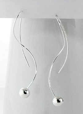 Linear Spiral Shaped Wire and Ball Drops Sterling Silver Wire Hook Earrings