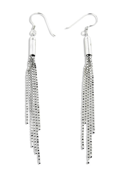 Rain Shower Chain Cluster of Dangling Strands Sterling Silver Hook Earrings - Silver Insanity