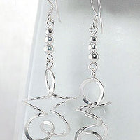 Long Looping Star Twisted Spirals Dangling Sterling Silver Earrings - Silver Insanity