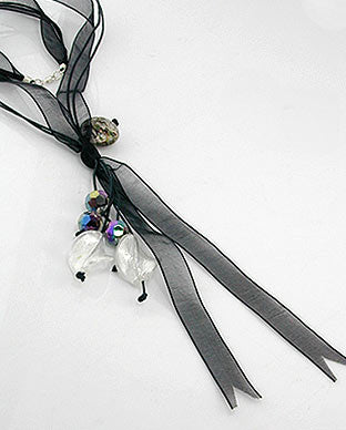 "Dark Black Sheer Ribbon and Cord Y Necklace 24"" Sterling Silver Clasp"
