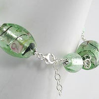 "Rose and Green Foil Glass Beads Sterling Silver 8.5"" Bracelet - Silver Insanity"