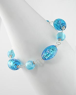 "Rose and Deep Ocean Blue Foil Glass Beads Sterling Silver 8.5"" Bracelet"