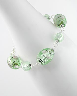 Rose and Green Foil Glass Beads Sterling Silver 8.5