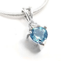 "Sterling Silver Blue Topaz Heart and White CZ Pendant and 16"" Chain Necklace - Silver Insanity"