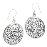 Large Round Disc Celtic Knot Sterling Silver Earrings