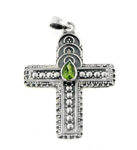 Medieval Style Sterling Silver Genuine Peridot Cross Pendant - Silver Insanity