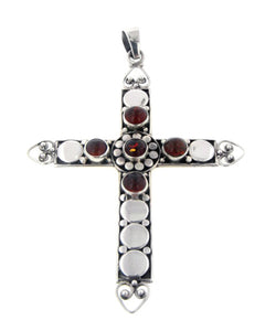 "3"" Tall Sterling Silver Large Baltic Amber Cross Pendant - Silver Insanity"