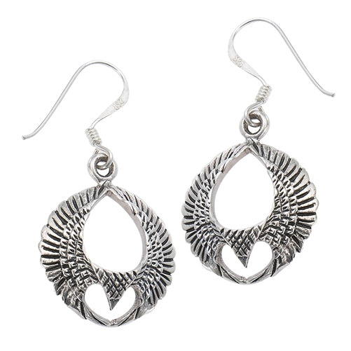 Eagle of Freedom with Spread Wings Sterling Silver Earrings - Silver Insanity